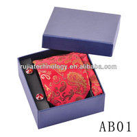 Red Paisley 100% woven silk necktie Gift Tie Set with High Qulity