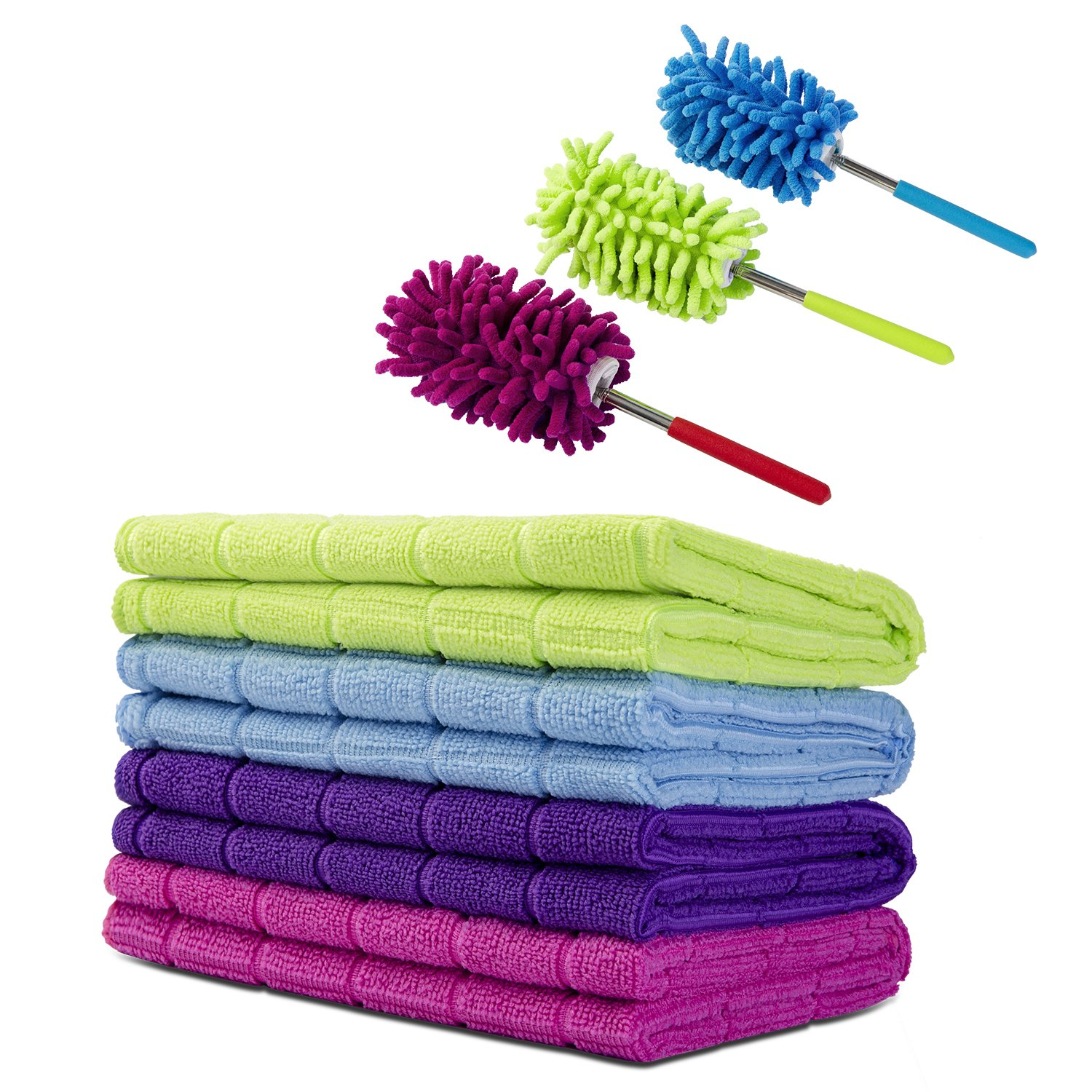 "Srotek Cleaning Cloth Set,4 Pack Thick Microfiber/Multi-Purpose Cleaning Towels (15.5""x23.5"")/Highly Absorbent Clean Cloth For Cleaning Bathroom,Kitchen/With 3 Piece Microfiber Adjustable Duster"
