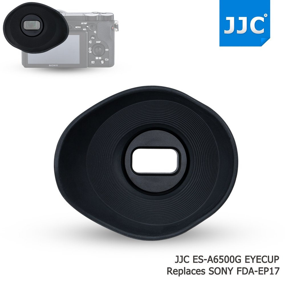 JJC Soft Silicone 360º Rotatable Ergonomic Oval Shape Camera Viewfinder Eyecup Eyepiece for Sony ILCE A6500 Replace Sony FDA-EP17, Extended Version for Eyeglass Photographer User