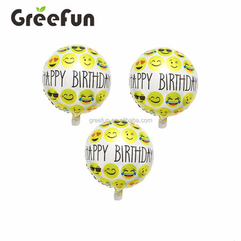 Hot Selling 2018 Happy Birthday Wishes Whatsapp Emoji Balloons Good Quality Promotional Helium Balloon