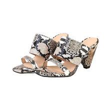 Женские сандалии-шлепанцы Meotina, летние туфли на высоком каблуке-шпильке, со змеиным принтом, с открытым носком, большие размеры 33-44(Китай)