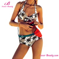 2016 fast delivery leaves printed sexy girls bikini micro bikini swimwear