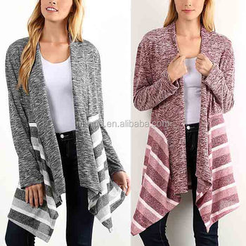 CUSTOM Bulk Wholesale Ladies Women Fashion Long Sleeve Gray Stripe Open Front Cardigan Sweaters