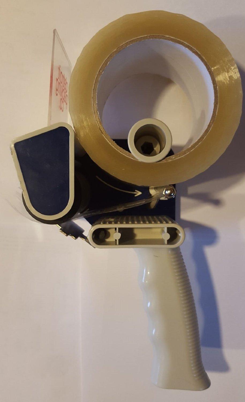 "Detroit Packing Co. Low Noise Quiet Tape Gun Dispenser, 3"" inch core (72 mm), Low Waste Packaging (Blue-Grey)"