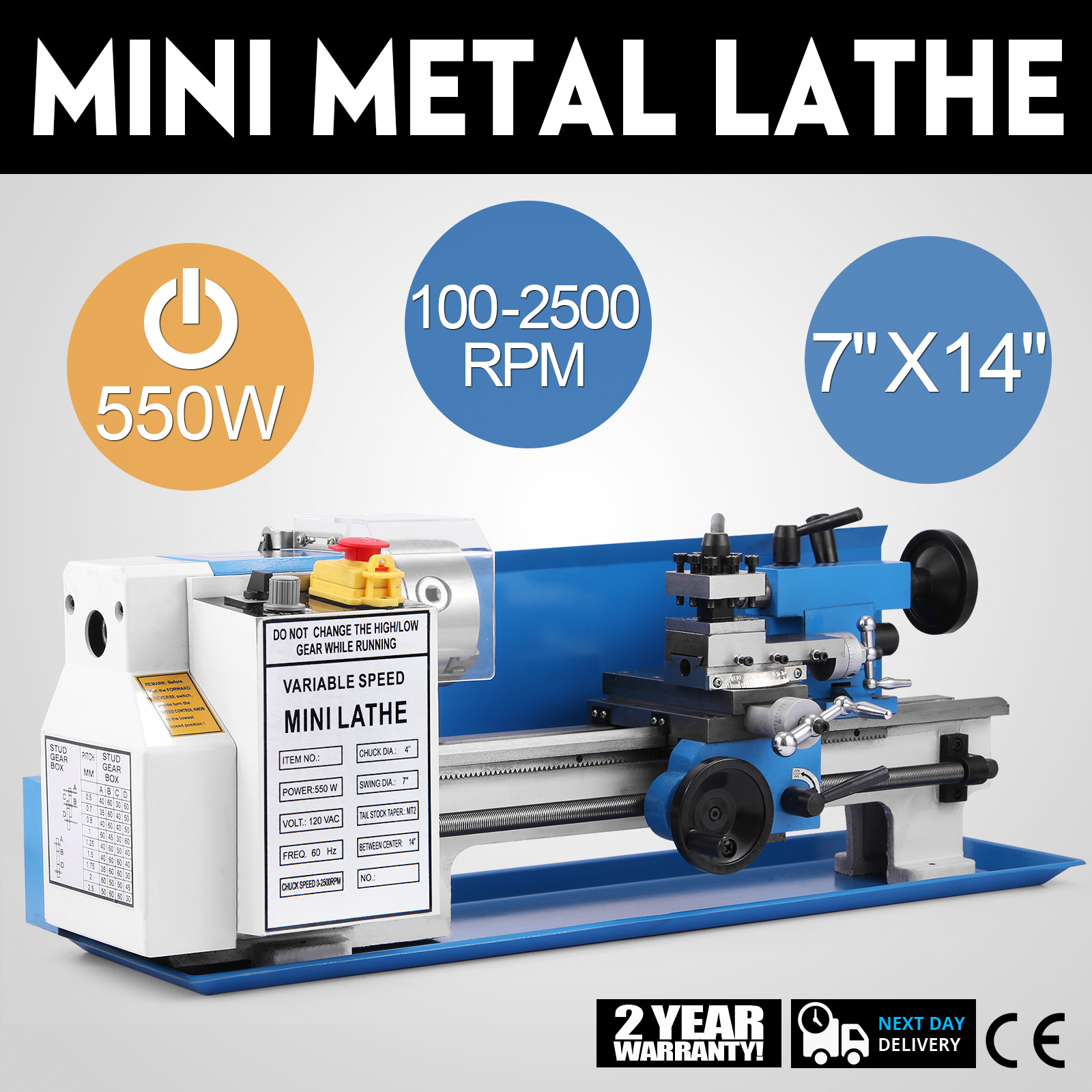 Hot 110V Mini Metal Turning Lathe Woodworking Cutter Machine 7/'/'x12/'/' Benchtop