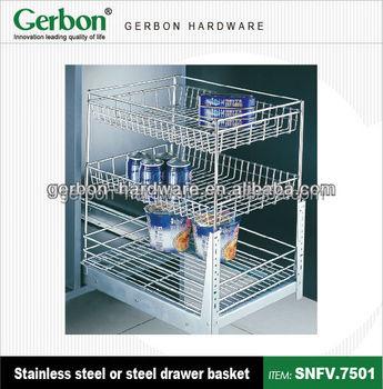 Beau Cabinet Sliding 3 Layer Drawer Basket   Buy Drawer Slide Wire  Baskets,Cabinet Sliding Wire Basket Drawers,Under Cabinet Sliding Basket  Product On ...