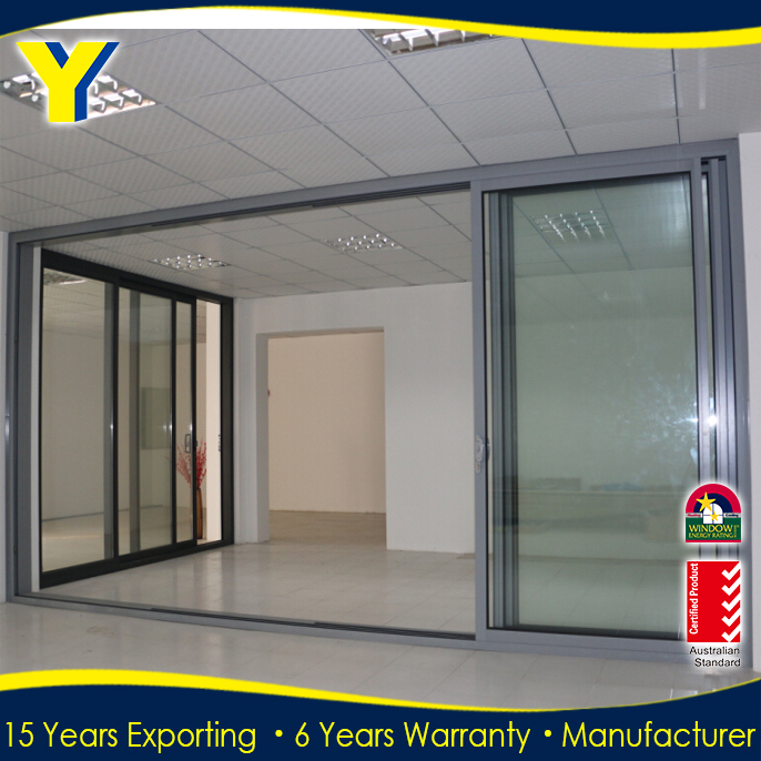AS2047 aluminum sliding door with double glazing window grill design