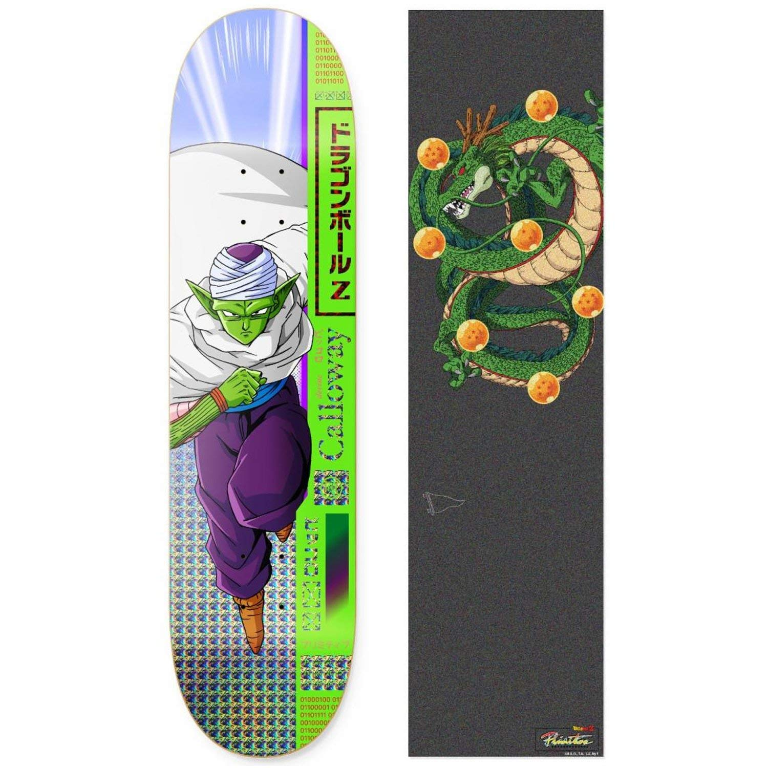 "Primitive Dragon Ball Z Calloway Piccolo Skateboard Deck 8.0"" w Shenron Griptape"