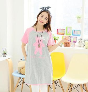 Best quality fashion new summer cotton short sleeve pink breathable elegant maternity dress