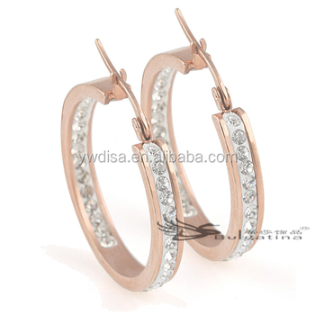 Rose Gold Plated Earrings Stainless Steel Hoop Earrings With Rhinestone