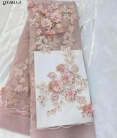 Korean material embroidery floral beaded tulle lace pink girls dress lace fabric with stones best quality