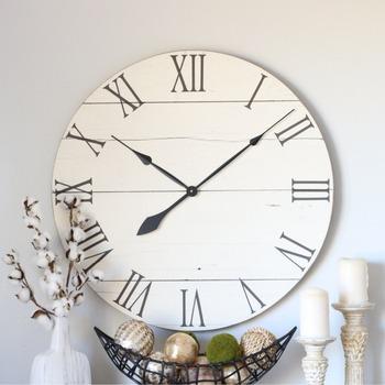 Cream White Wood Clock Decor Large Wall Clock Modern Wood Decor