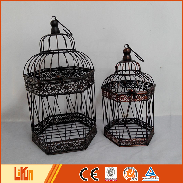 Superior quality black cheap iron casting garden ornaments metal decorative birdcage