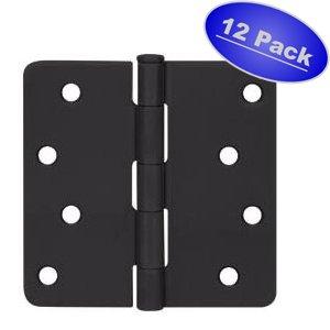 "Cosmas Flat Black Door Hinge 4"" Inch x 4"" Inch with 1/4"" Inch Radius Corners - 12 Pack"