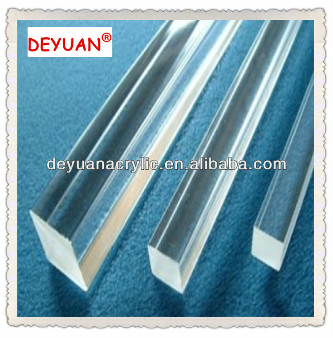 Clear extruded plexiglass square rod