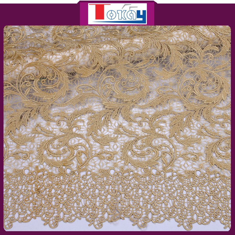 African gold guipure lace fabric with stones from Tokay