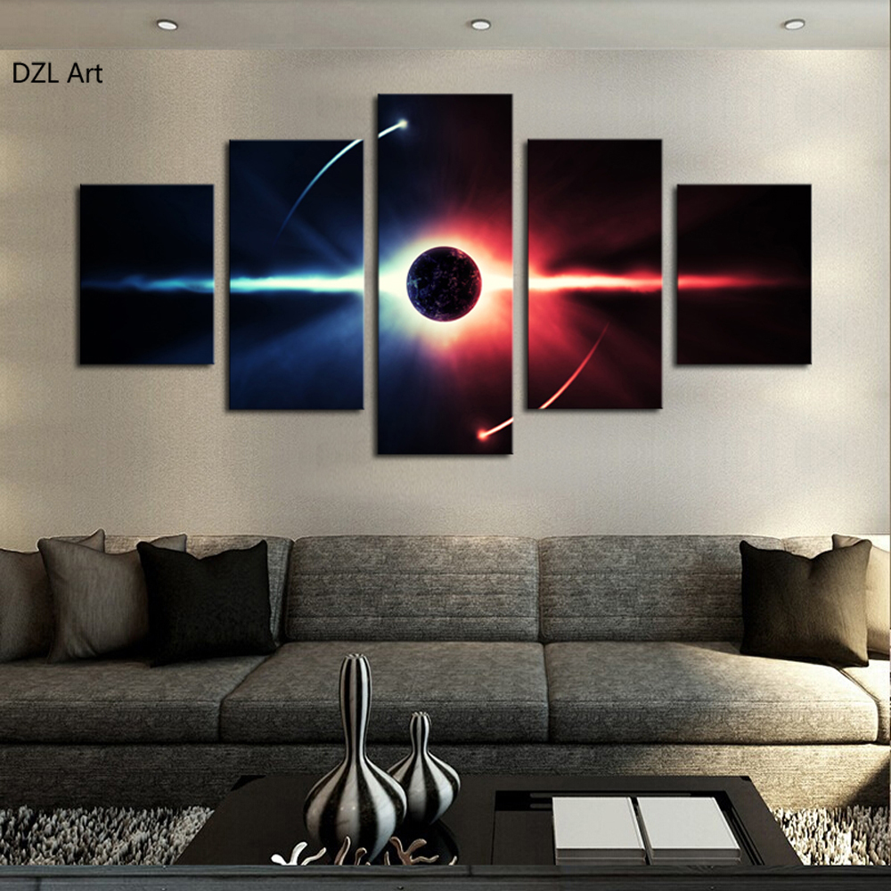 Large Wall Pictures For Living Room: 5 Pcs(No Frame) Large HD Abstrac Planet Canvas Print