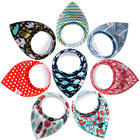 Reusable Washable Cotton Baby Bandana Drool Bibs Burp Cloth Print Arrow Wave Triangle Adjustable Baby Meal Bib Infant Bibs