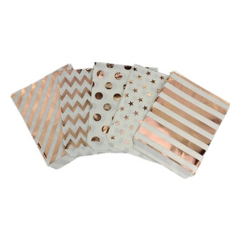 5x7 inch Small MOQ Food Grade Small Rose Gold Foil Printed Party Favor Paper Bags