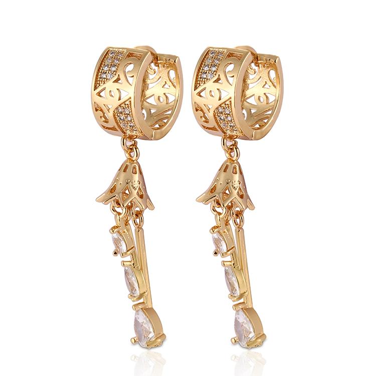 HD 2018 18K Gold Plated CZ Drop Earrings Women Jewelry
