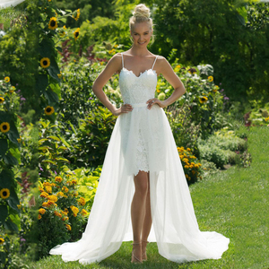 Detachable Wedding Dress.Short Wedding Dresses With Detachable Train Lace Beach Wedding Dress Spaghetti Strap Bridal Dresses 2019 New Vestido De Noiva