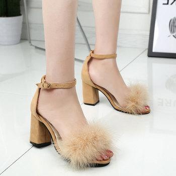 5466767bf0 Venta al por mayor en China vellosidades coriónicas mujer alta Tacón  cuadrado sandalias de verano barato