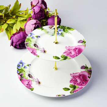 Ceramic Three Tier Cake Plate Stand Fancy Porcelain Candy Dessert Tray Service Dishes Plate Tea Party and Home Use