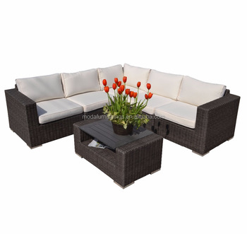 6PC L Shaped Plastic Wood Table All Weather Outdoor Wicker Patio Garden Rattan Sectional Furniture Sofa Set