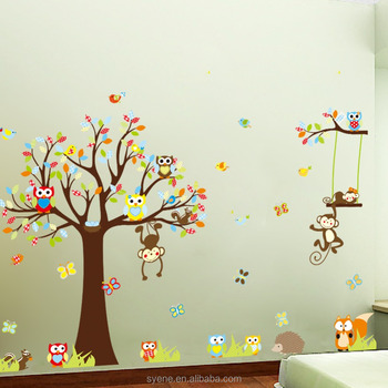 syenexl3d jungle forest animals zoo monkey tree wall sticker for