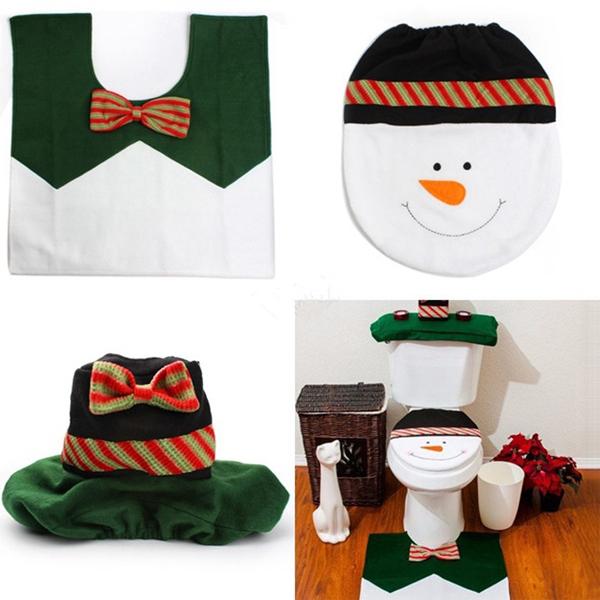 Set De Baño De Navidad:Plush snowman navidad baño set para la decoración casera nuevo para