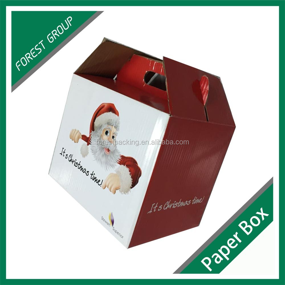 PRINTED CHRISMAS PACKING BOX WITH HANDLE
