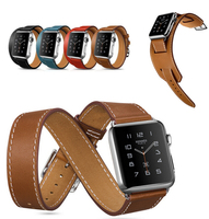 Swatch Band For Apple,Real Leather Long Cuff Band For Apple Watch With Classic Buckle