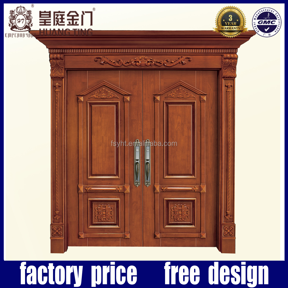 Exterior oak solid wood main door designs carving double door