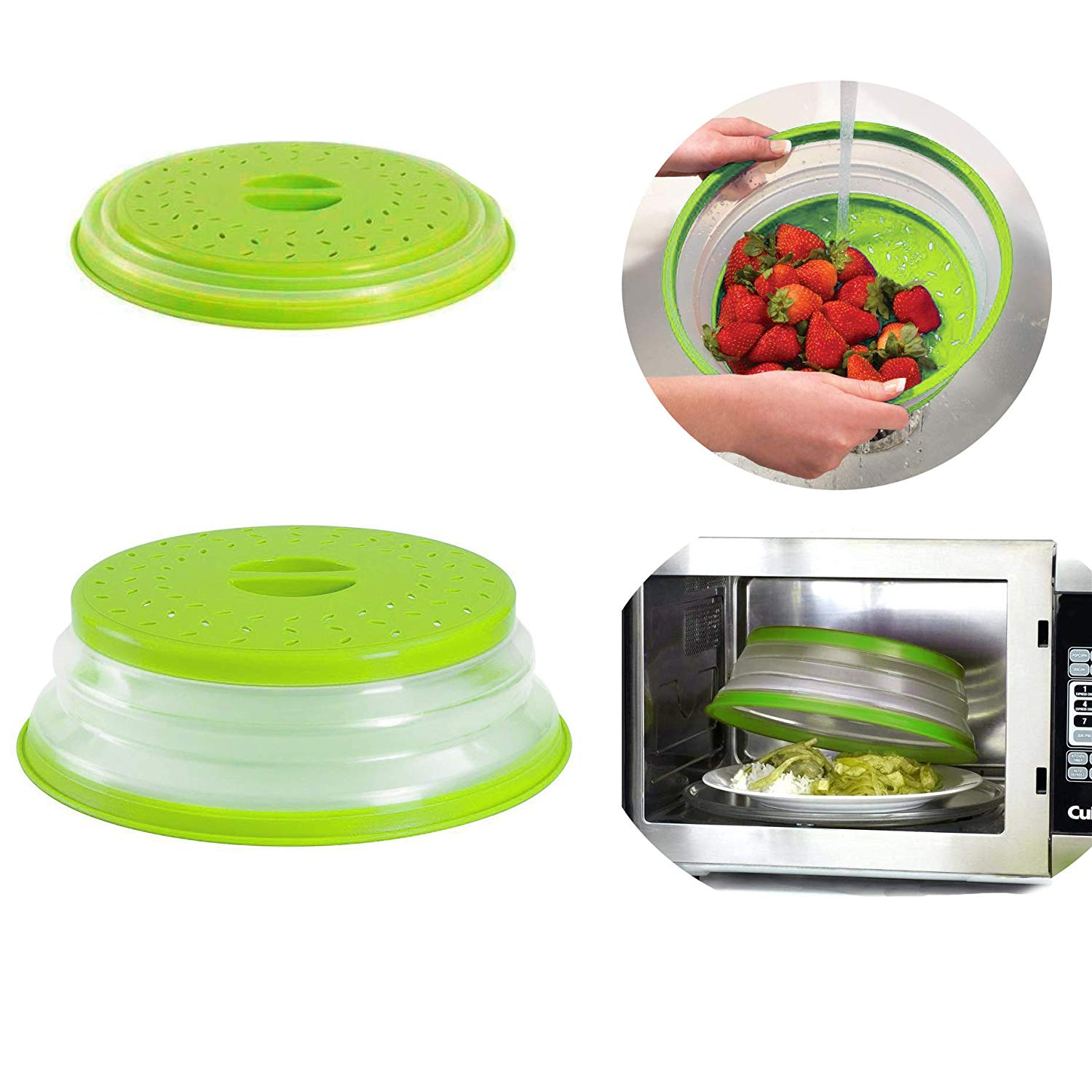 Collapsible Microwave Food Cover, Plastic Microwave Plate Cover Splatter, Colander Strainer for Fruit Vegetables