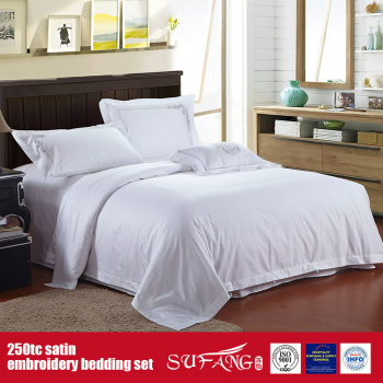 Cotton 250tc Satin Embroidery Bedding Set Hotel Grade Sheets