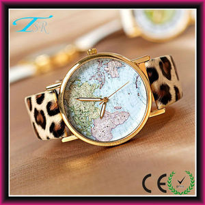 latest fashion world map print face watch leopard leather unisex foreign trade HOTSELL