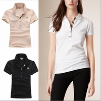 2016 summer new design fitted cardigan with button plain pure cotton polo shirt for women