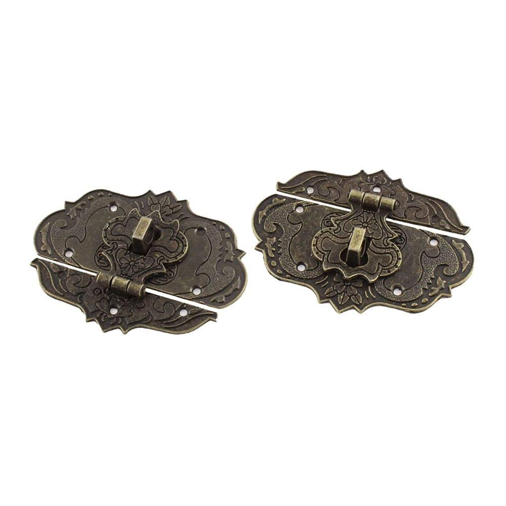SODIAL(R) 2 Pcs 77mmx57mm Suitcase Jewelry Box Hasp Latch Antique Bronze