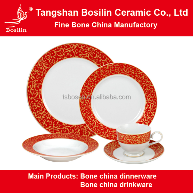 Wholesales Europe Style Fine Bone China Dinner Set In Red Color Uk