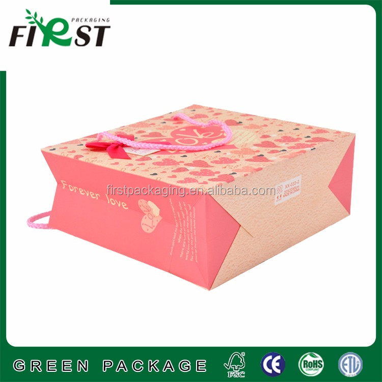 Customized personalized luxury paper shopping gift bag,flat handle kraft paper bag