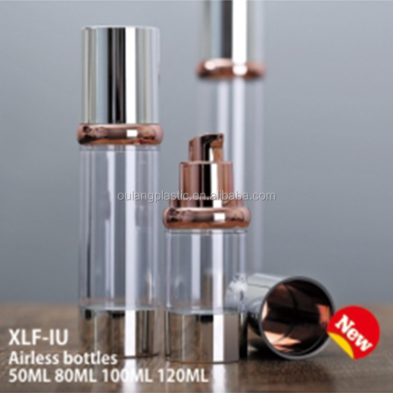New design Cosmetic using 50ml <strong>plastic</strong> round airless bottles with good quality