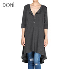 Women's New Half Sleeve High Low Loose Cotton Long Tunic Tops To Wear With Leggings