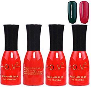 QINF 4PCS OV Red Bottle Soak-off UV Gel Set Top Coat+Base Gel+2 UV Color Builder Gel(No.139-140,15ml)