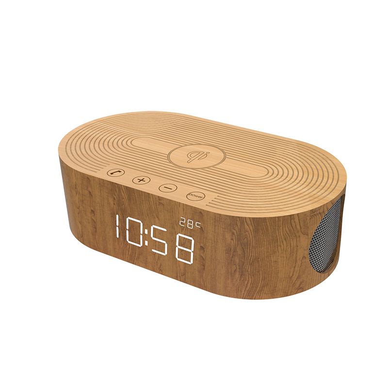 New products Wooden led digital alarm clock with wireless charger and wireless bluetooth speaker nfc