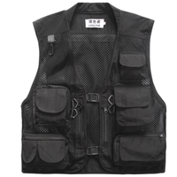 Colorful Fashion Breathable Men Mesh Black Vest with Pockets