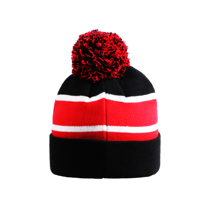 357a7cd33cf custom jacquard logo stripe pom pom red baby slouchy long fur ball beanie  hat with string boo factory