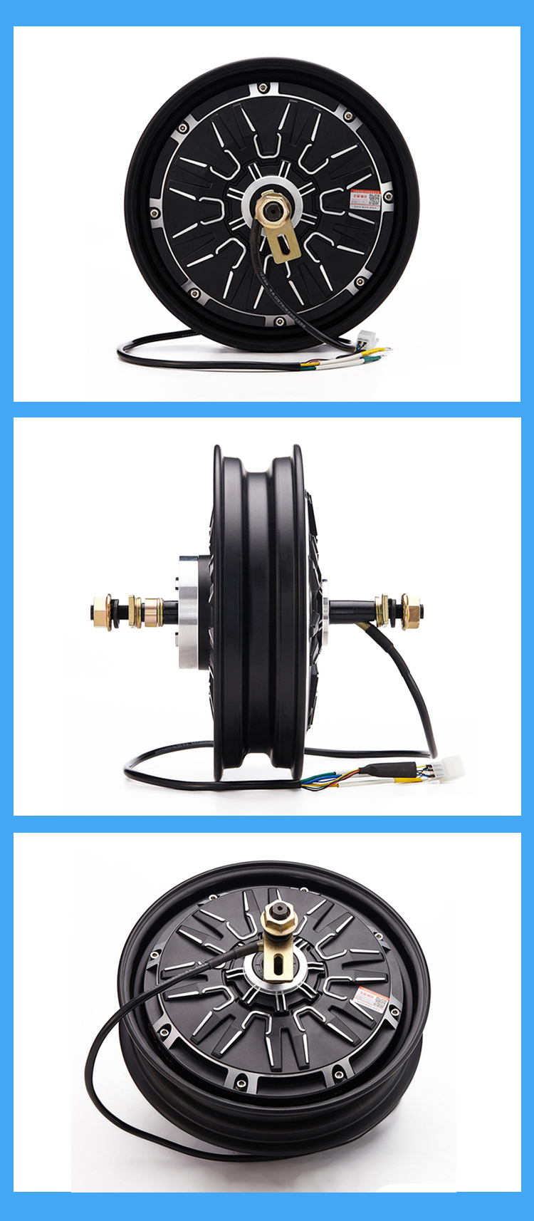 10 Inch 500W-1000W 60V Two Wheels Electric Brushless Hub Dc Motor For Motorcycle