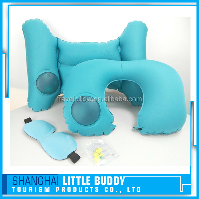 automatic custom inflatable airplane camping travel u shape air neck pillow