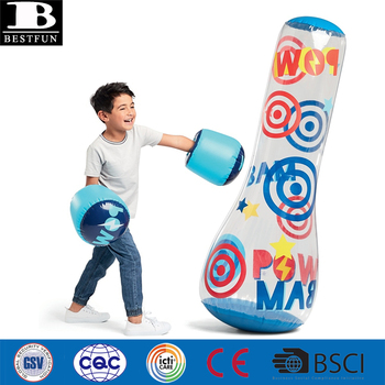 Heavy Duty Vinyl Inflatable Bop Bag And Boxing Glove Durable Plastic Up Knock Around Set Punching Pillar