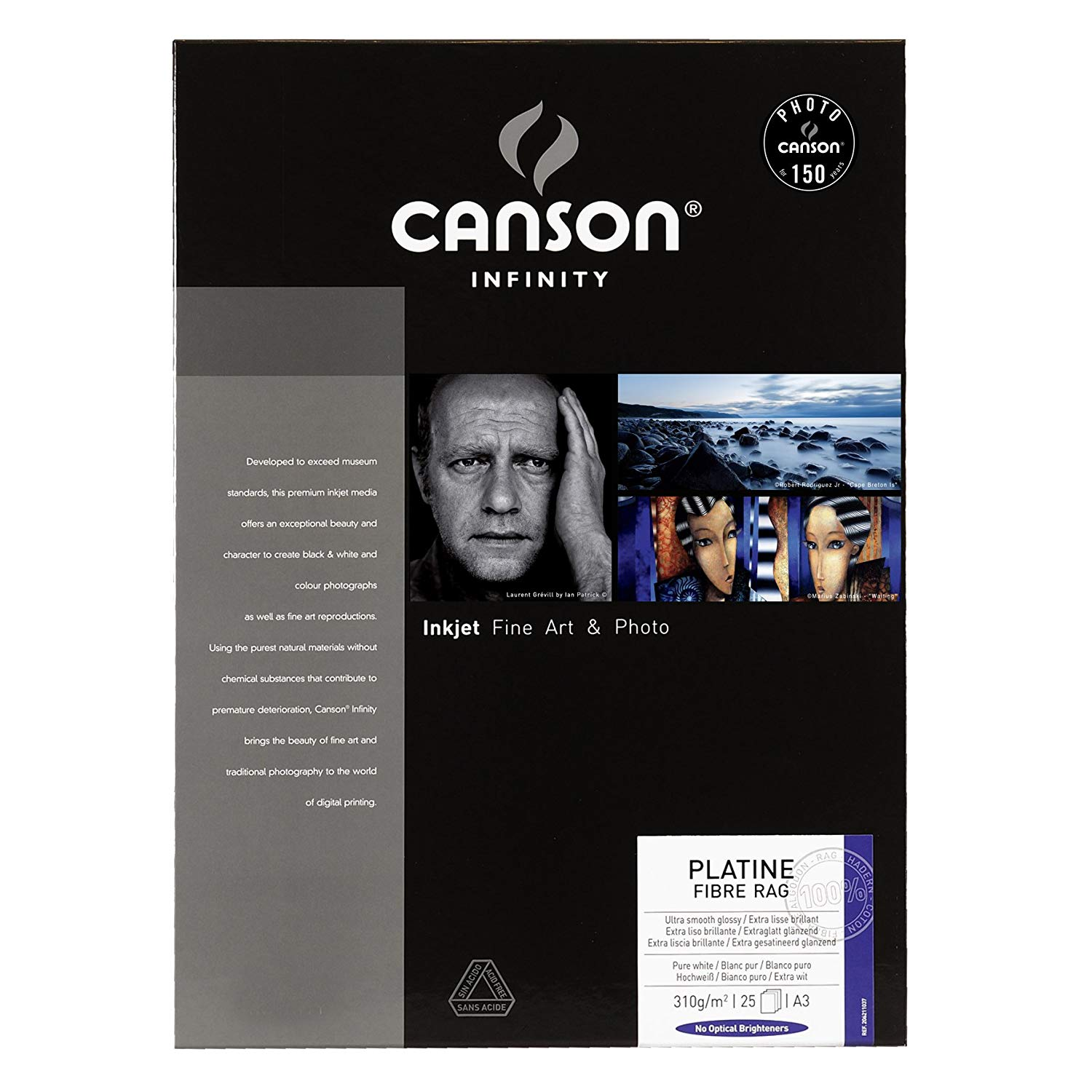 Canson Infinity Platine Fibre Rag 206211037 Photo Paper A3 25 Sheets White